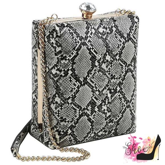Snakeskin Embossed Jewel-Top Box Bag